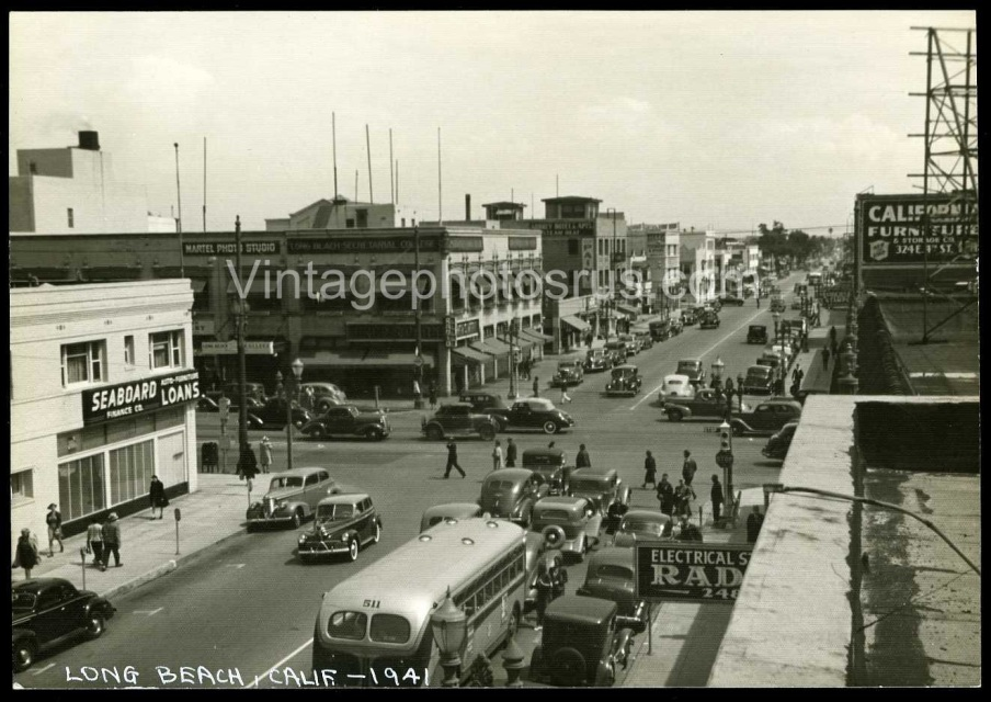 1941 photo great view of downtown street view long beach california during wwii. Black Bedroom Furniture Sets. Home Design Ideas