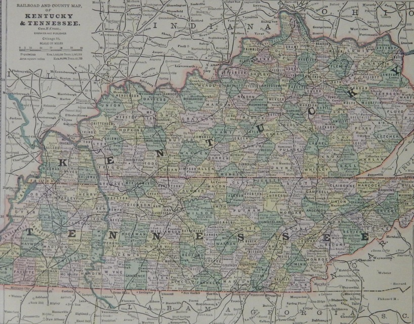 1883 Colorful US Southern State 11x13 Maps
