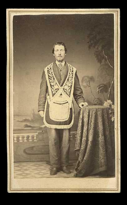 c1860 CDV photo Fremasonry man wearing Masonic Regalia uniform Lodge member